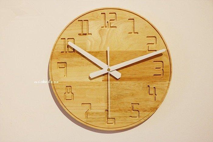 尼克卡樂斯~北歐實木掛鐘[數字款] 靜音時鐘 工業風掛鐘 歐洲鄉村風時鐘 客廳時鐘 臥室時鐘 壁掛鐘