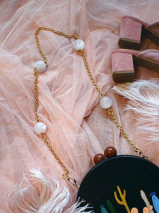 淘淘樂-【一人故事】燭光貝母小眾包帶女包配件單肩斜挎銅鏈條改造包鏈