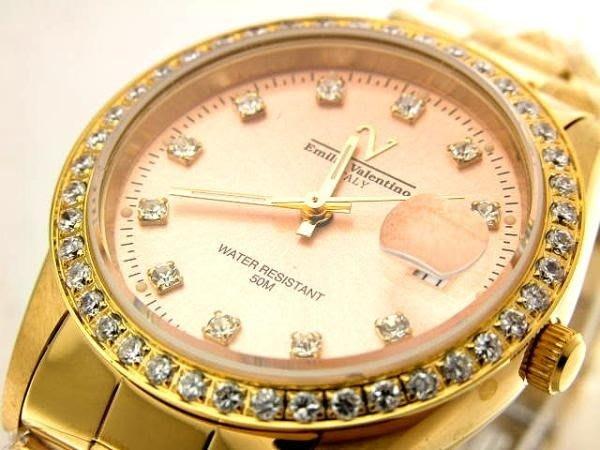 @(六四三鐘錶精品店)@Emilio Valentino(真品)斯文鑽錶.小型錶殼.藍寶石水晶玻璃.爪鑲馬眼鑽.