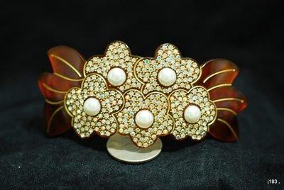 j183正法國廠製滿鑽珠珠花型弧形自動夾可公主頭全頭或盤(仿製的是無法加止滑墊)