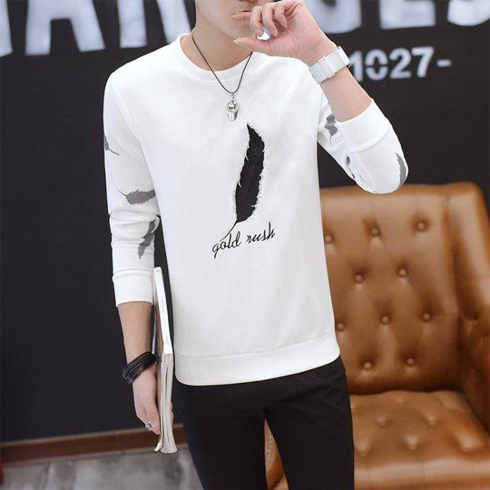 JA 長袖T恤 正韓男士長袖t恤圓領T恤潮流韓版青年寬鬆長袖衛衣打底衫秋衣上衣男裝