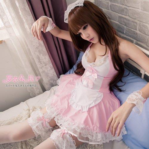 女僕裝 熱銷款蕾絲洋裝7件組 角色扮演制服COSPLAY黑色/粉紅色連身裙-愛衣朵拉C152