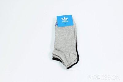 【IMPRESSION】ADIDAS ORIGINALS TREFOIL SOCKS 踝襪 黑白灰 AB3889 男 女