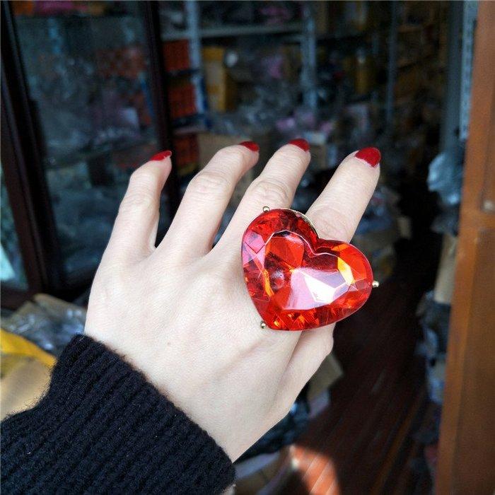 潮人日韓版學生歐美夸張復古紅色大寶石個性開口愛心食指戒指環女 IV3163