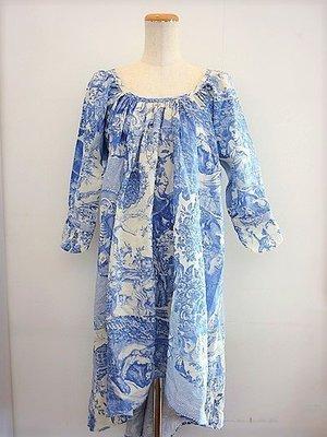 Ahcahcum🍎Muchacha 法式印刷 36碼 青花瓷連身裙 全新