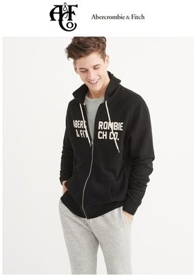 A&F 正品 Abercrombie & Fitch GRAPHIC APPLIQUE ZIP-UP HOODIE