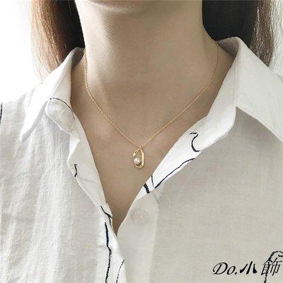 Do.小飾s925純銀不規則設計天然珍珠項鏈鎖骨鏈女學生吊墜生日圣誕節禮物