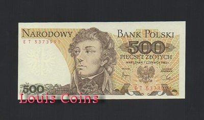 【Louis Coins】B234-POLAND--1982波蘭紙幣500 Złotych