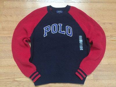 【Polo Ralph Lauren】RL 大男童 針織毛衣 線衫 圓領針織毛衣 POLO貼布 深藍/紅色拼接