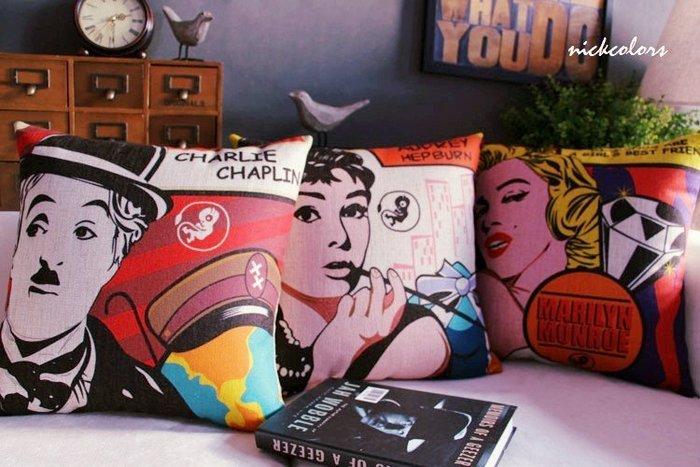 尼克卡樂斯~好萊塢美式風格抱枕 奧黛麗赫本 瑪麗蓮夢露 卓別林 靠枕 枕墊 靠墊 沙發抱枕 臥榻靠枕 枕頭