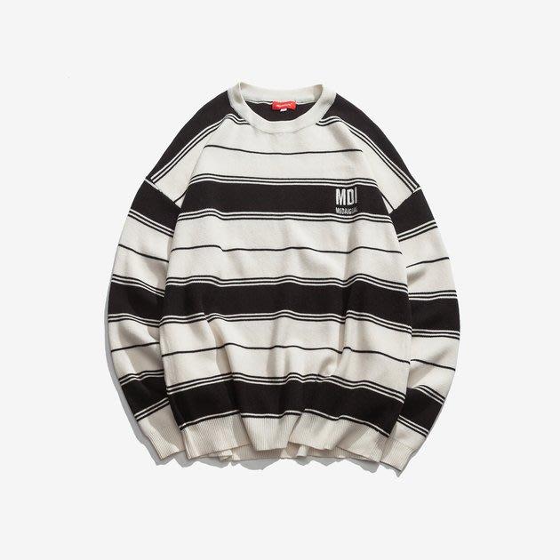 FINDSENSE 2019 秋季上新 G7 黑白條紋刺繡毛衣 男裝 中性上衣