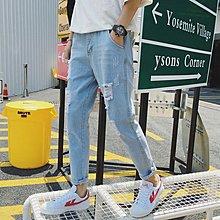 逆主流   夏季韓系刷破破洞淺色九分褲潮款寬鬆休閑九分牛仔褲特價
