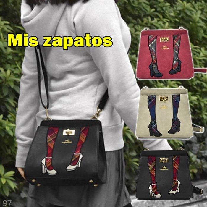 日本 Mis zapatos 高跟鞋刺繡 皮革 美腿包 側背包 肩背包 斜背包 手提包 零錢包 方包 小側背包 包包