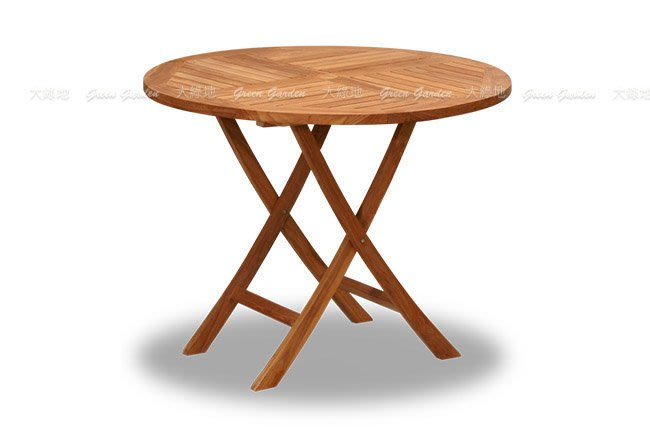 柚木 折合圓桌(70公分)【大綠地家具】100%印尼柚木實木/柚木餐桌/實木餐桌/室內戶外兩用/可摺疊收納