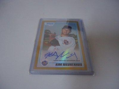 2010 BOWMAN CHROME KIRK NIEUWENHUIS 簽名新人卡 金亮簽 GOLD  RC 限量50張