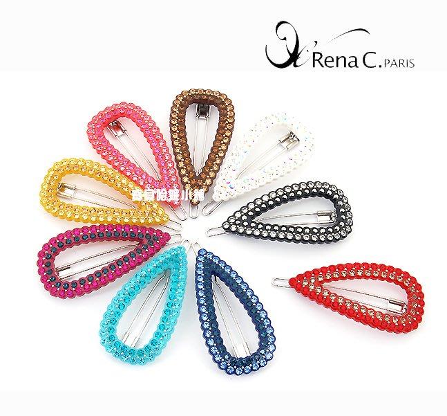 BHI1597-法國品牌RenaChris 施華洛世奇晶鑽超漂亮髮夾 邊夾 扣夾【韓國製】AngelRena