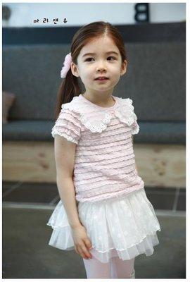 艾町Eyeing Shop 韓國品牌Kacakid  公主粉款  春夏秋款蕾絲娃娃領純棉短T連身蓬蓬裙