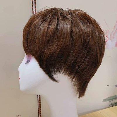 整頂假髮真髮絲短假髮-微捲無痕手織自然女假髮2色73vr30[獨家進口][米蘭精品]