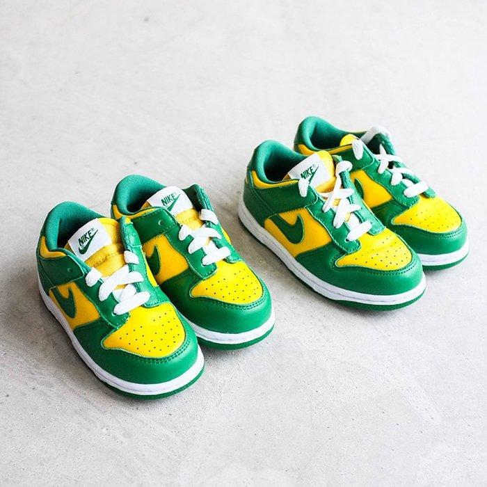【車庫服飾】Nike Dunk Low Brazil TD Kids 巴西 黃綠 球鞋 童鞋