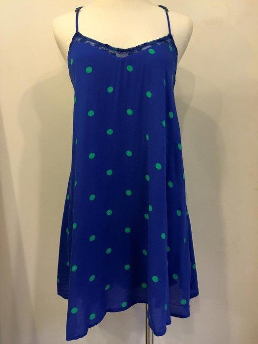 Hollister HCO 女生 Southside 蕾絲拼接點點洋裝 寶藍 XS 現貨-78185
