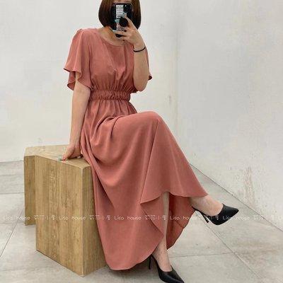 【莉莎小屋】正韓 春款新品(預購) 💝韓國連線代購-素色縮腰洋裝👚👖 OS210423
