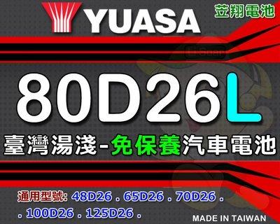 ☼台中苙翔電池►臺灣湯淺 YUASA 80D26L-MF 免保養 汽車電池 80D26L-CMF [ 不斷電安裝 ]
