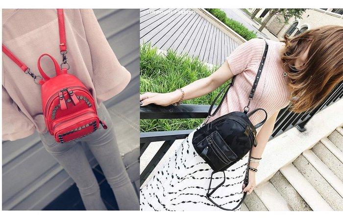 正韓熱賣 小款 後背包 鉚釘後背 mini款 mini後背 3way 斜背包 肩背包 皮革 尼龍 小包 mini包