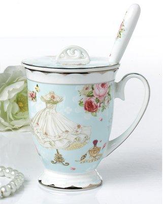 英國風玫瑰花園金箔系列骨瓷馬克杯組附湯...