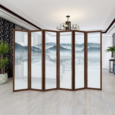 屏風 客廳隔斷 中國風中式實木山水屏風隔斷墻客廳折疊移動半透簡易臥室辦公室酒店折屏