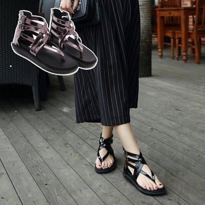 韓國明星流行同款 夏季特價最新款 復古歐洲風 交叉編織厚底羅馬鞋 簡約涼鞋 懶人鞋 透氣女鞋(216-1現+預)
