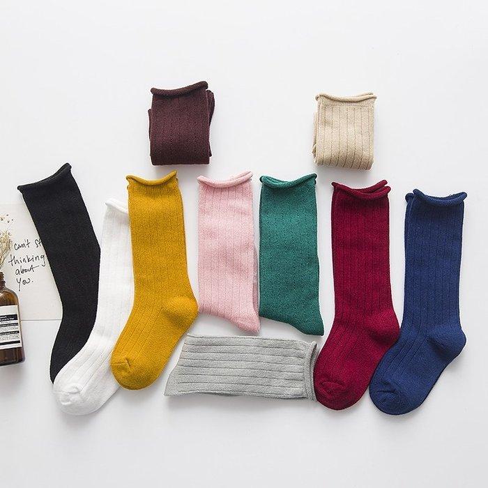 【小阿霏】兒童秋冬棉襪 純色捲邊鬆口堆堆襪 女童男童寶寶個性襪子PA312
