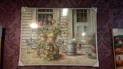 鄉村仿舊木框壁掛畫(花朵)