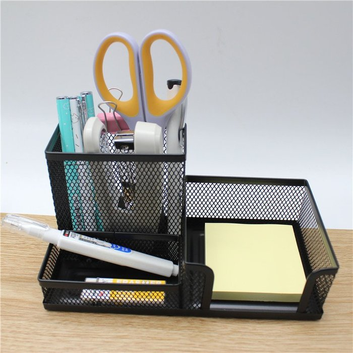 MY#爆款#筆筒簡約辦公收納盒圓形方形多功能金屬網狀#筆筒#桌面收納