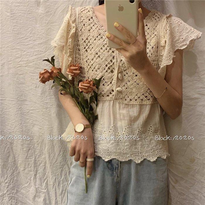 短袖雪紡衫 甜美 小香風 韓版 法式重工鏤空勾花修身顯瘦設計感荷葉邊 雪紡衫 女