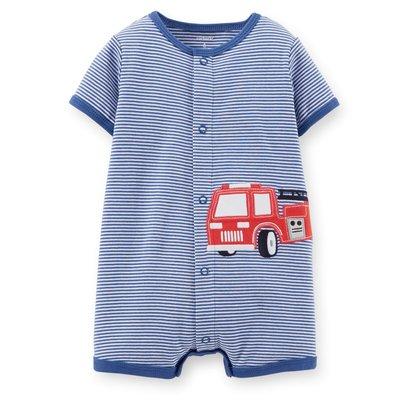 【安琪拉 美國童裝】Carter's 藍色橫條消防車連身衣-另有Gymboree/Oshkosh