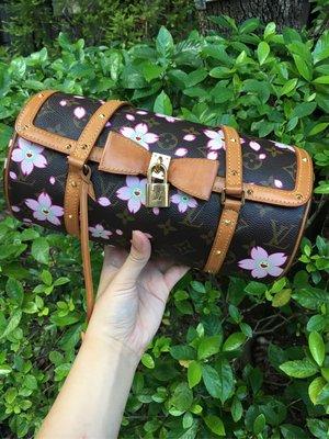 Louis Vuitton lv 村上隆 櫻花 圓桶包 手提包