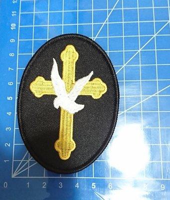 刺繡臂章- Studded gold cross with dove和平鴿十字架臂章-086-限量促銷25元