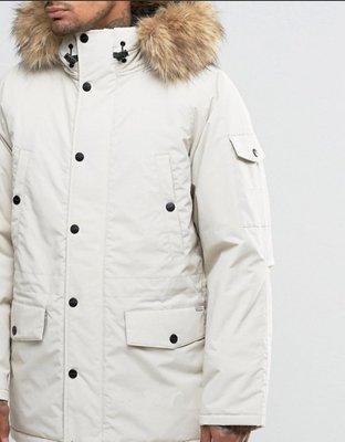 Carhartt WIP Anchorage Parka 男裝 連帽是抓絨的內裡 毛領連帽厚大衣 厚外套 S號 灰白色