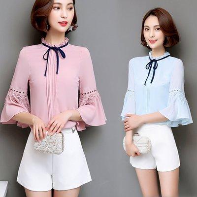 6087雪纺衫女短袖2017夏装女装系带衬衫宽松喇叭袖打底衫上衣