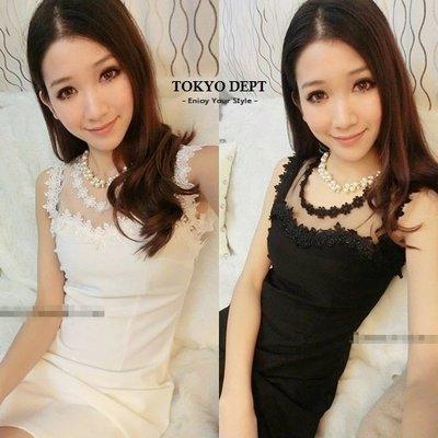 TOKYO DEPT【E2065】韓蕾絲花邊.平口洋裝小洋裝小禮服洋裝韓雪紡洋裝露肩伴娘連身裙禮服絲
