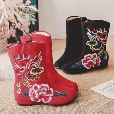 柒柒KR 正韓側拉錬加絨布靴短筒民族風漢服舞蹈鞋防滑軟底媽媽冬靴低跟繡花鞋