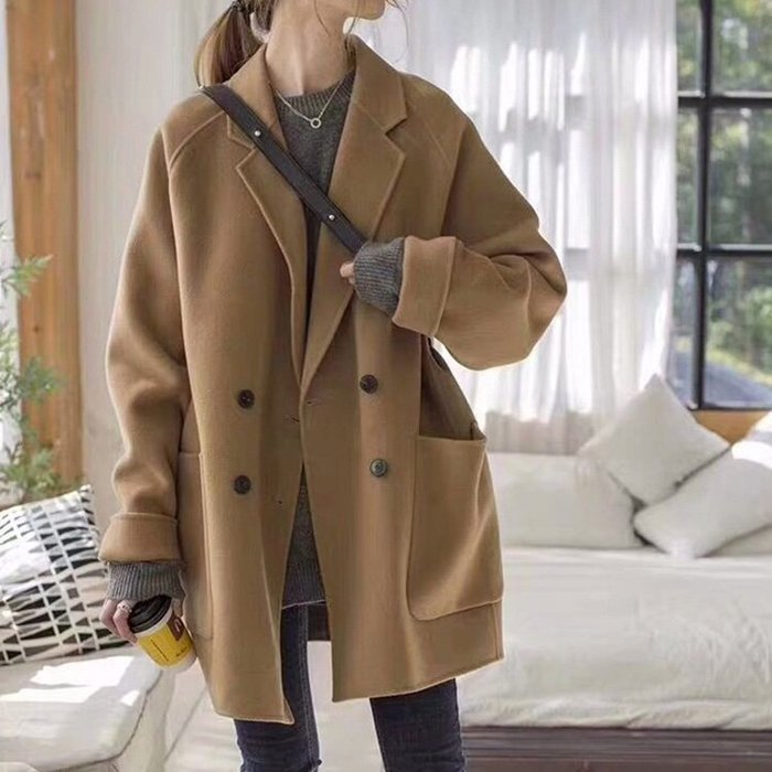 超推薦顯瘦小臉冬季外套 人手一件內裡夾棉毛呢中長大衣 艾爾莎【TAE8070】