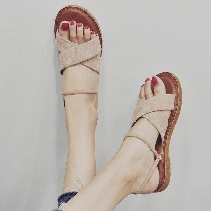 爆款--涼鞋女新款夏季韓版百搭平底學生兩穿羅馬鞋外穿海邊沙灘涼拖#鞋子#涼鞋#百搭#時尚