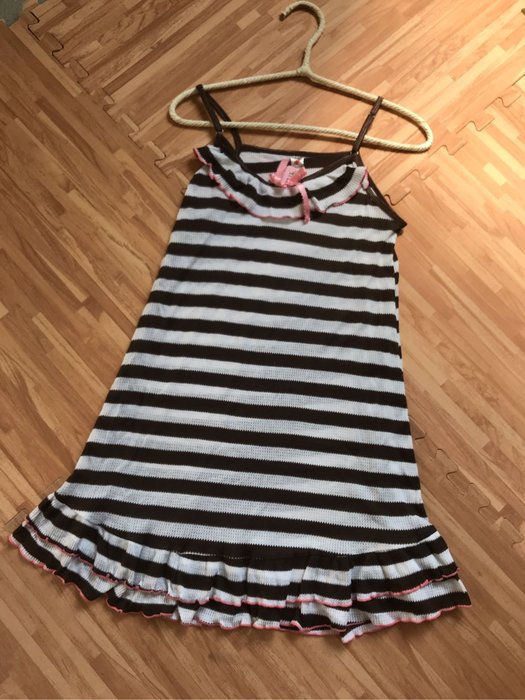 紫滕戀日系甜美睡衣 巧克力橫條紋甜美荷葉邊裙裝現貨免等