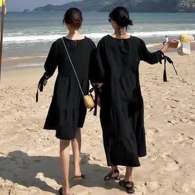 冷淡風裙子少女學生小清新連衣裙極簡慵懶復古港味宿舍服裝閨蜜裝