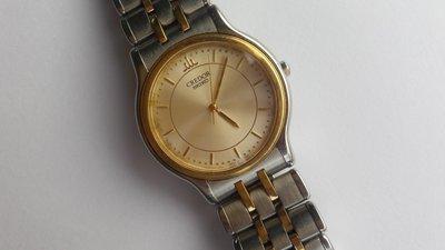1990s SEIKO 頂級品牌 CREDOR (貴朵) 18K金錶圈 18K/SS 錶帶 石英驅動 紳士男表