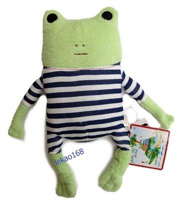 日本愛旅行的青蛙藍格紋M號玩偶組[新到...