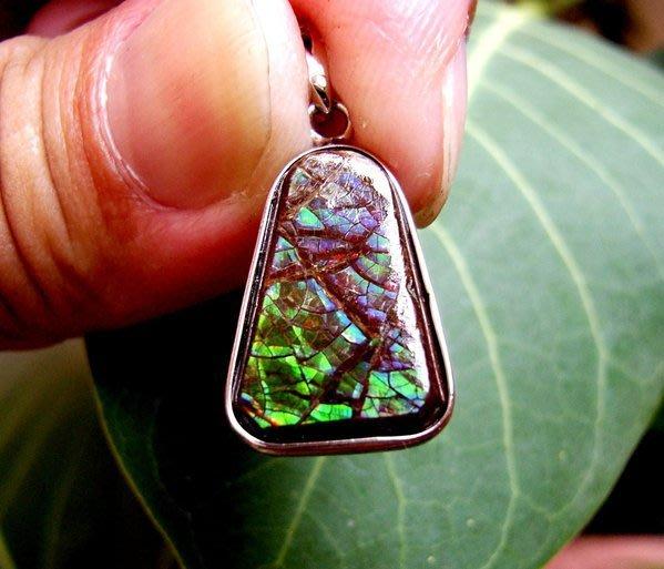 小風鈴~天然高檔七彩斑彩石墜子(重2.1g)又名~發達石.麒麟石(帶強烈藍綠光)餓木餓水