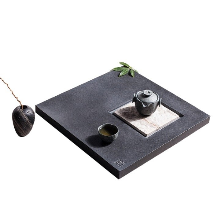 5Cgo【茗道】含稅43846052173 寬德納天然烏金石茶盤石頭茶海功夫茶具排茶臺茶船與天然石材壺承-名方40cm
