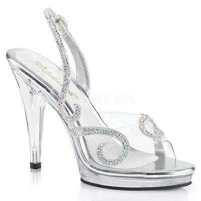 Shoes InStyle《四吋》美國品牌 FABULICIOUS 原廠正品水鑽透明高跟魚口涼鞋 有大尺碼『銀白色』
